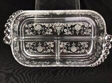 Vintage Duncan Miller First Love Elegant Glass Etched Floral Design Celery Tray
