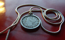 "1883 Full Liberty Nickel Pendant on a 24"" Round 18k White Gold Filled 2mm Chain"
