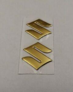 SUZUKI 3D GOLD CHROME BADGE LOGO STICKERS GRAPHICS DECALS SUPERBIKE GSXR GSR SV
