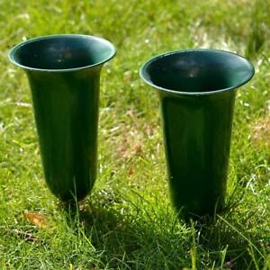 Set of 2 Plain Green Fluted Spiked Memorial Grave Flower Vases Container Holder