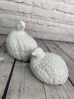 Vintage Pair Partridge Quail Dove White Porcelain Love Birds TOYO JAPAN
