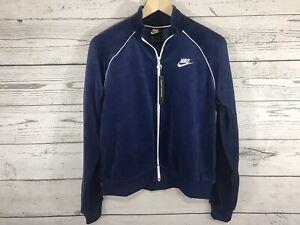 Nike Sportswear Womens Blue Velour Full Zip Track Jacket Size Small NWT