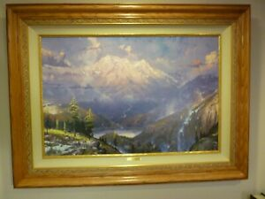 "Thomas Kinkade ""TWILIIGHT VISTA"" 3950 S/N Canvas 24x36 Oak Frame"