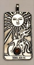 Sun Tarot Card Pendant .925 Sterling Silver - natural Amber Prosperity Success