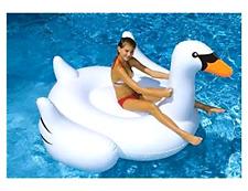 Large Swan Inflatable Swimming Pool Float Raft Mattress Ride Water Beach Lounge