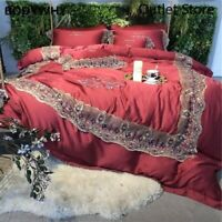 Luxury Embroidery Tencel Silk Wedding Bedding Set Lace Duvet Cover Bed Sheet Bed