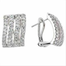 925 Silver CZ Rectangle Wave Earrings