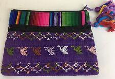 Stela9 make up small travel bag Purple Rainbow Striped Zip Tassels New 2551-A