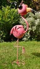 RUSTIC COLOURFUL PINK METAL BIG EYES FLAMINGO GARDEN ORNAMENT DECORATIVE