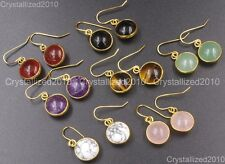 Natural Gemstone Round Candy Healing Chakra Pendant 18k Gold Plated Earrings