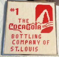 VINTAGE 80s Cross Stitch Coca-Cola St Louis Bottling Company Advertising Sign