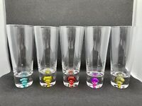 Set Of 5 Hand Blown Colored Bubble Glass Shooter/Shot Glasses 4oz.