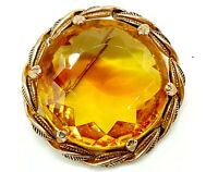 Vintage Amber glass brooch.