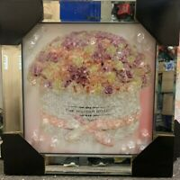 FLOWER BOUQUET ROSES PINK DIAMOND CRYSTAL LIQUID ART MIRROR FRAME PICTURE WALL