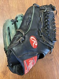"Rawlings 12"" LHT PRO200-15 Baseball Glove Black Green Left Hand Thrower"