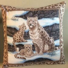New 14 X 14 Leopard Siting With Cubs Cat Animal Theme Pillow - Collectors Gift!