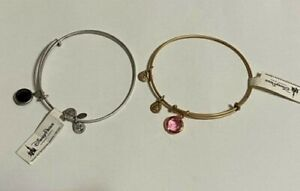 Alex and Ani Expandable Bracelets - 1 silvertone and black, 1 goldtone and rose