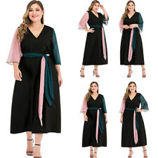 New Women Fashion Party Loose Maxi Dress V-Neck Summer Holiday Casual Dresses