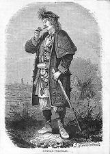 POLOGNE POLAND PAYSAN GRAVURE ILLUSTRATION 1863