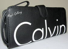 Calvin Klein Wallet Wristlet Hand Tote Bag Handbag Purse faux Leather Coin CK