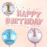 """18"""" 1st Birthday Party Aluminum Balloon Cluster Large Choice Colours Decor GIFT"""