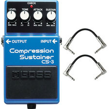 Boss CS3 CS-3 Compression Sustainer Pedal Stompbox Footswitch + Patch Cables