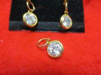 14KT GOLD EP  AUSTRIAN CRYSTAL CLEAR DROP SMALL POST 3 PC EARRING SET, 8.5MM