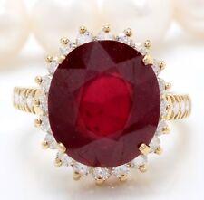 15.70 Quilate Natural Rubí Rojo & Diamonds en 14K Oro Amarillo de Mujer Anillo