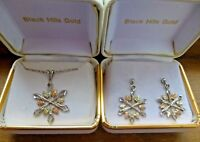 Sterling Silver and 12K Black Hills Gold Snowflake Necklace & Earrings Set Boxed