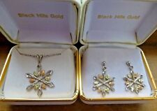 Sterling Silver and 12K Black Hills Gold Snowflake Necklace and Earrings Set Box