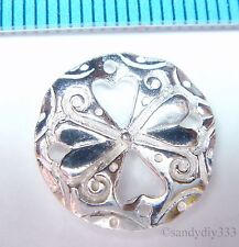 1x BRIGHT STERLING SILVER FLOWER LINK ROUND CONNECTOR SPACER BEAD 15.2mm #1330