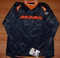 Chicago Bears Jersey Jacket Pullover Adult Small Embroidered Logos Reebok NFL