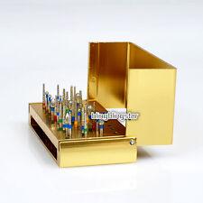 30x Dental Diamond Burs Drill + Disinfection Bur Block High Speed Handpiece Gold