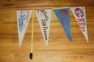 VINTAGE MLB AND NFL PENNANTS-60'S-1970'S- REDS, DODGERS, LA RAMS, ST LOUIS CARDS