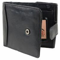Mens Gents Soft Nappa Leather Quality Tabbed Wallet with Coin Pocket Zipped