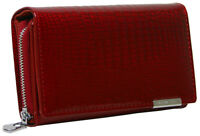 Damen Leder Geldbörse Croco-Optik - Portemonnaie mit viel Stauraum - in Rot
