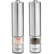 VonShef Salt Pepper Mill Set Electric Grinder Shaker Stainless Steel Electronic