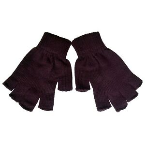 Indie Punk Emo Grunge 70s 80s 90s 2000s Skater Mens Brown Knit Fingerless Gloves