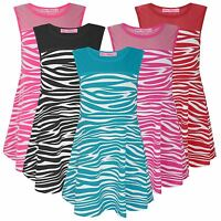 GIRLS SKATER DRESS ZEBRA PRINT KIDS SLEEVELESS TOP PARTY CASUAL SIZE 1-12 YEARS