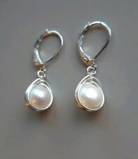 White pearl Sterling silver 925 earrings leverback bridal, gift for bridesmaid