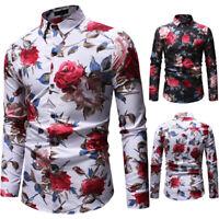 Men's Casual Floral Pattern Dress Shirts Long Sleeve Hawaiian Shirt Flower Tops