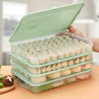 Food Storage Box Kitchen Dumplings Vegetable Egg Holder Stackable Microwave