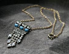 Elegant Bling Crystal Rhinestone Fringe Bronze Long Dangle Necklace Pendant
