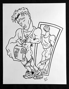"SELFIE Ink Drawing 11"" x 14"" nude male gay cartoon comic naked man jock youth"