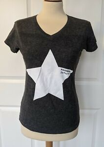 UNBRANDED CHARCOAL GREY V NECK STAR PRINT T SHIRT MEDIUM EXCELLENT CONDITION