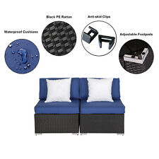 2pcs Patio Rattan Sofa PE Wicker Outdoor Cushioned Furniture Set With Pillow