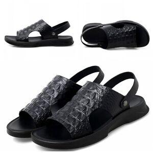 Men Beach Sandals Faux Leather Alligator Pattern Slip On Flats Shoes Slipper New