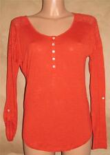 Lucky Brand Size M Cotton Nylon Solid Orange Long Sleeve Scoop Neck Top Multiple