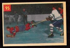 1954-55 PARKHURST #95 HARVEY TAKES A NOSE DIVE - CANADIENS & LEAFS - HOCKEY CARD