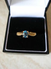 9CT GOLD FINE BLUE TOPAZ DRESS RING BNIB IN MADE ENGLAND PURE QUALITY